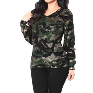 NWT Michael Kors Camouflage V Neck Sweater